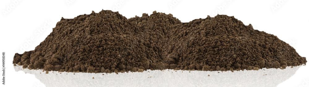 Fototapeta motte de terre brune du jardin, fond blanc