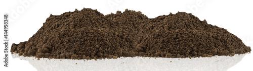 Fotografia motte de terre brune du jardin, fond blanc