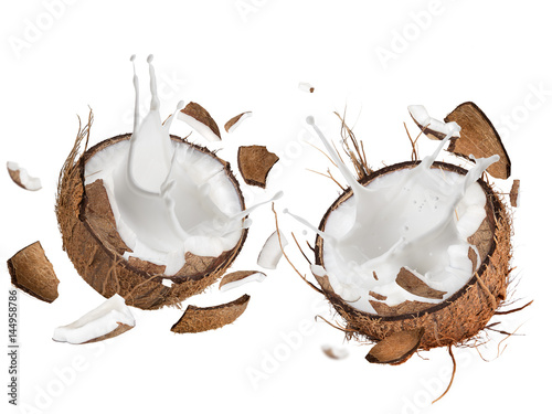 Stampe  close-up of a coconuts with milk splash.