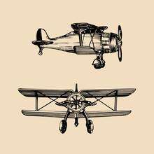 Vintage Retro Airplane Logo. V...