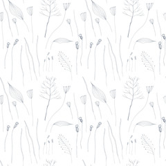 Floral vector seamless pattern with hand drawn  stylized wild flowers, herbs, grasses and leaves .