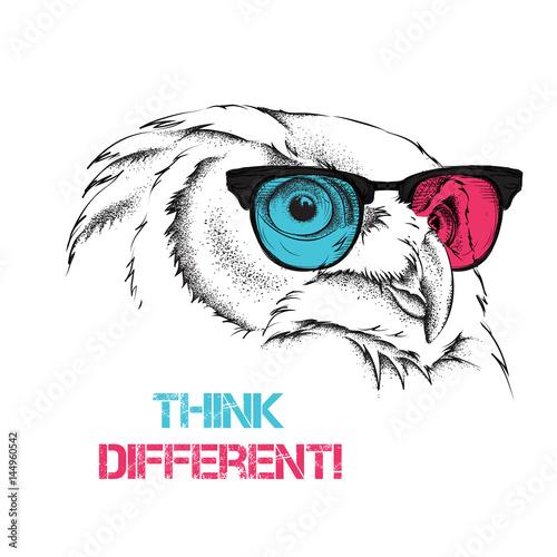 portret-sowa-w-kolorowe-okulary-mysl-inaczej-ilustracji-wektorowych