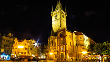 Old Town City Hall In Prague (Night View), View From Old Town Square And Astronomical Clock. Czech Republic