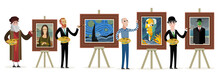 Four Great Painters Creating Art Portraits And Paintings