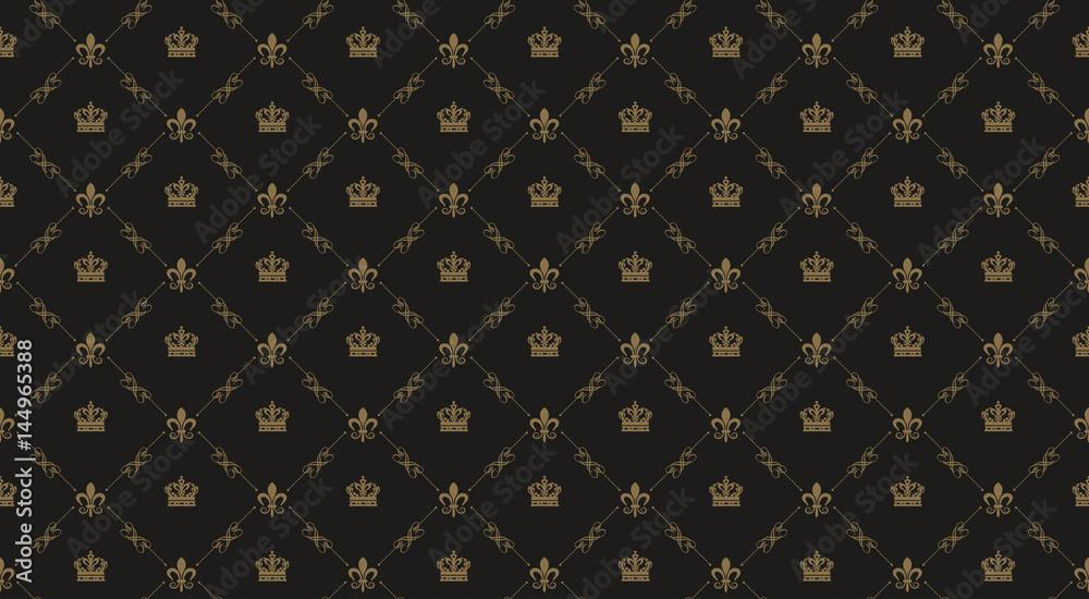 Fototapeta Interior design. Black royal background pattern