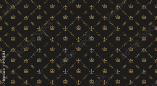 Interior design. Black royal background pattern Fototapet