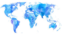World Map.Earth.Watercolor Hand Drawn Illustration.White Background.