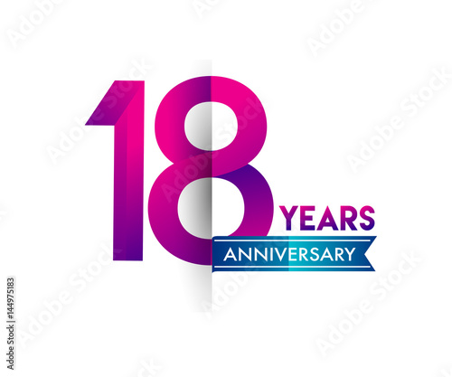 eighteen years anniversary celebration logotype colorful design with