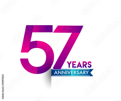 Valokuva  fifty seven years anniversary celebration logotype colorful design with blue rib