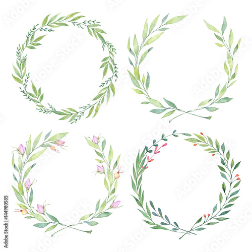 Fotobehang Bloemen Hand drawn watercolor illustrations. Laurel Wreaths. Floral design elements. Perfect for wedding invitations, greeting cards, blogs, logos, prints and more