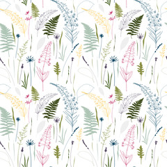 Naklejka Florystyczny Floral vector seamless pattern with fern leaves, cornflowers, fireweed, thistles, lavender flowers and meadow grasses outlines.Thin lines silhouettes in pastel colors on white background