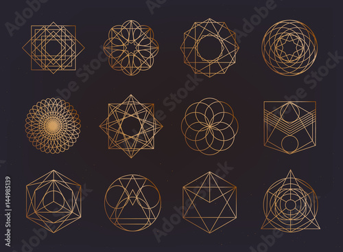 Photo Sacred geometry symbols collection
