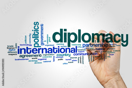 Fotografía  Diplomacy word cloud concept on grey background