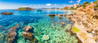 Idyllic view of the bay coast in Portals Nous on Majorca island Platja de l'Oratori Spain Mediterranean Sea