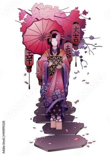 Fotografie, Tablou Graphic geisha with umbrella