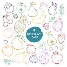 Vector Cute Illustrations Of Fruits. Big Set. Cute Doodles And Sketches Style. Good For Print, Menu, Invitations, Or Any Other Design