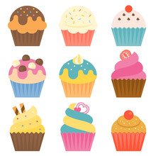 Set Of Cup Cake Icon With Coat...