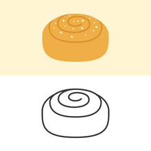 Cinnamon Roll Icon, Flat Desig...