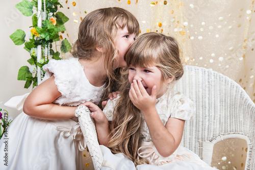 Photo  Beautiful and funny twins children girls