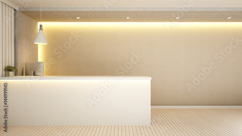 Fotografie, Obraz reception design for hotel or apartment - 3d Rendering
