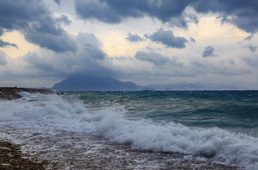 Strong waves of Mediterranean sea near Datca, Turkey