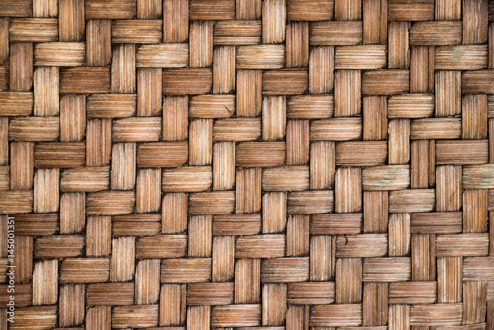 Fototapety, obrazy: Closed up of brown color wooden weave texture background