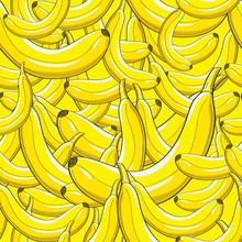 Modern Stylish Bright Yellow Banana Pattern. Repeating Irregular Background With Hand Drawn Fresh Bananas Lying On Each Other. Perfect Texture For Textile And Wallpapers. Vector Seamless Pattern.