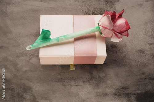 Origami Watercolor Rose On Rose Box Vintage Grey Background Buy