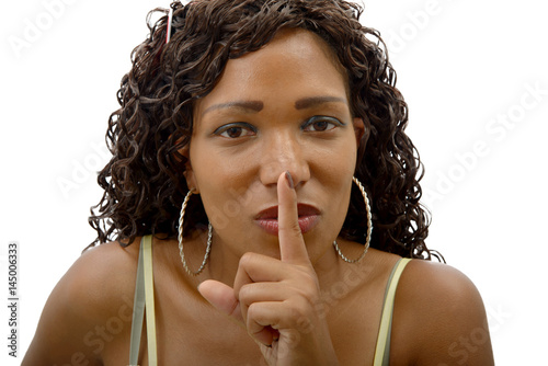 beautiful african woman with finger on her lips Poster