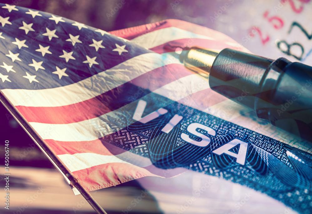 Fototapety, obrazy: United States of America Visa Document Concept
