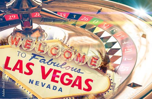 Poster Las Vegas Las Vegas Sign. Roulette in the background. Casino theme.