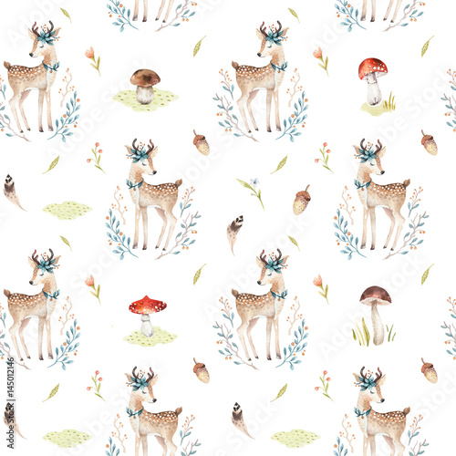 Cotton fabric Cute baby deer animal seamless pattern for kindergarten, nursery isolated illustration for children clothing. Watercolor Hand drawn boho image Perfect for phone cases design, nursery posters.
