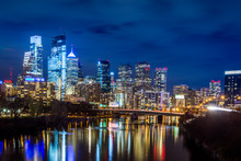 Skyline At Night Of Philadelphia Pennsylvania From Above Schulykill Expressway