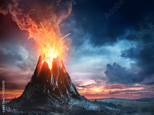 Volcanic Mountain In Eruption Fotobehang
