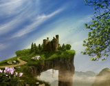 Castle on a cliff. 3D rendering