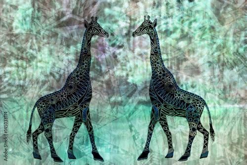 Obraz na płótnie żyrafa w abstrakcyjnym stylu