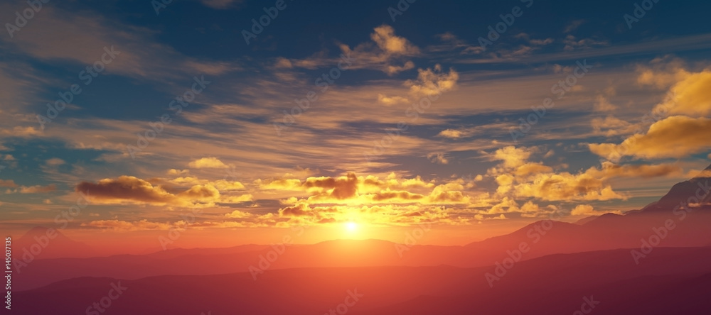 Fototapety, obrazy: Sunset over the mountains