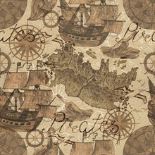 Seamless Background With Old Ships And Pirate Map Elements In Sepia Tone. Watercolor Illustration.