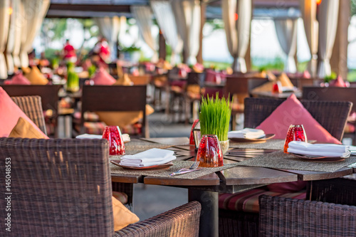 Table setting at casual outdoor restaurant