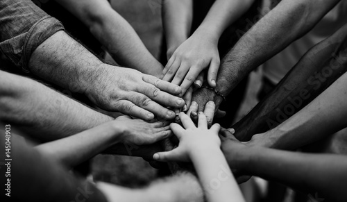 Fotografering  Group of people holding hand assemble togetherness
