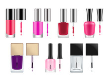 Set Of Realistic Vector Packages For Nail Polish. Opened Transparent Glass Bottles With Black Cap And Brush. Blank Template Of Container With Red And Pink Varnish. Illustration Isolated On White