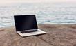 Laptop Auf Einem Felsen Am Meer