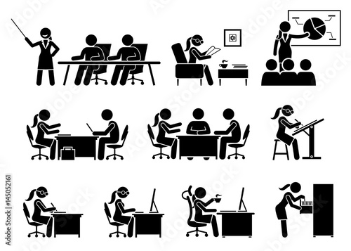 businesswoman working in an office artworks depict business woman