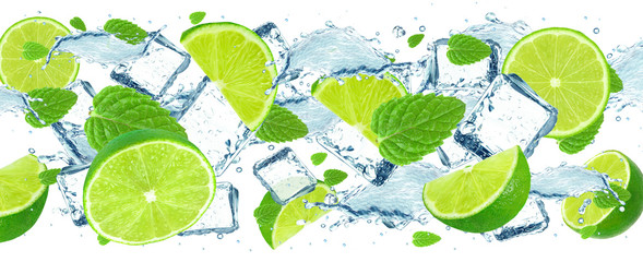 Fototapeta Style Lime splash and ice cubes