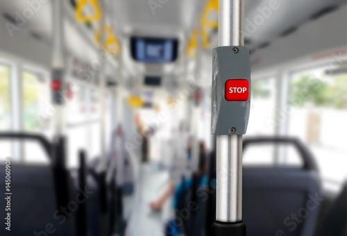Türaufkleber London roten bus Bus stop button with empty seats