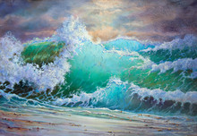 Wild Big Storm Sea Waves - Heaven Seascape View - Original Oil Painting On Canvas, Piece Of Art Part Of Gallery Collection