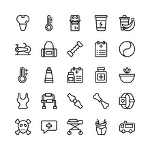 Medical, Health And Fitness Line Vector Icons 19