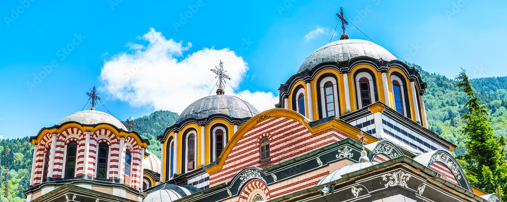 Fototapety, obrazy: Partial view of church and dome in famous Rila Monastery, Bulgaria