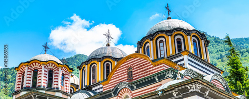 Stampa su Tela Partial view of church and dome in famous Rila Monastery, Bulgaria