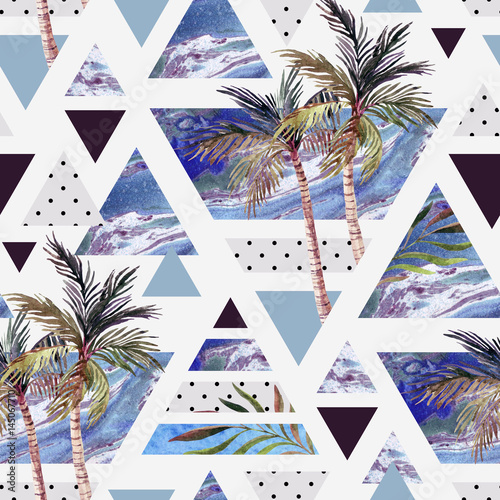 letni-geometryczny-wzor-z-roznymi-figurami-i-letnimi-krajobrazami-palmy-plaza-i-morze